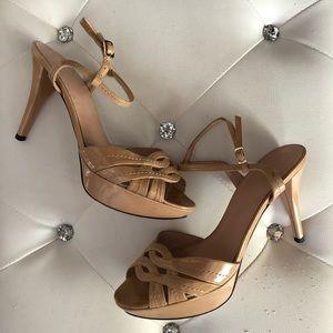 STUART WEITZMAN Nude Patent Leather Heels Sandals